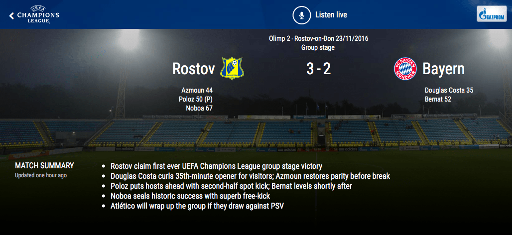 """UEFA Krievijas """"Rostov"""" un Minhenes """"Bayern"""" - UEFA - Sportazinas.com"""