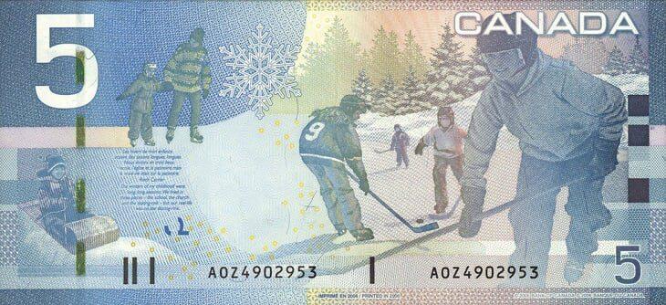 Pieci Kanādas dolāri